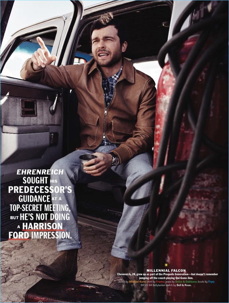 Connecting with Esquire, Alden Ehrenreich wears a Michael Kors leather jacket. The actor also dons a Frame shirt, Dolce & Gabbana jeans, and Frye boots.