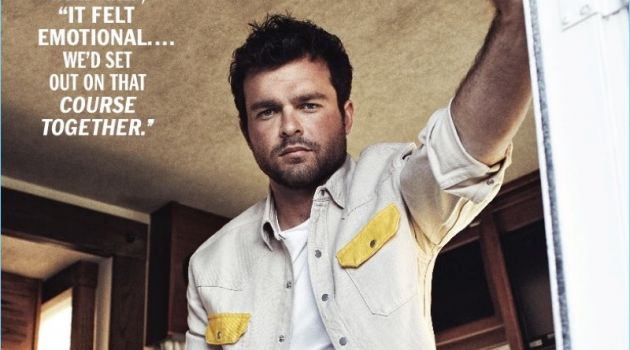 Embracing spring trends, Alden Ehrenreich is pictured in a Calvin Klein shirt and t-shirt.