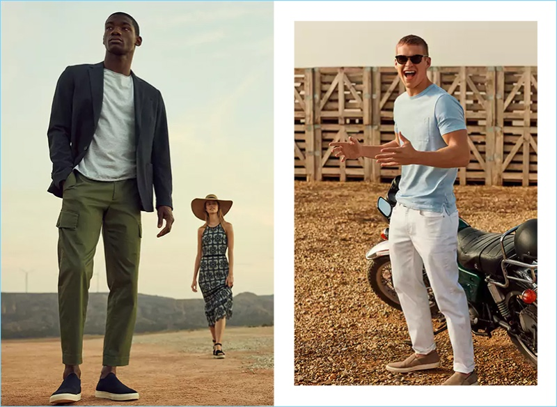 Models Valentine Rontez and Mitchell Slaggert connect with Banana Republic for summer 2018.