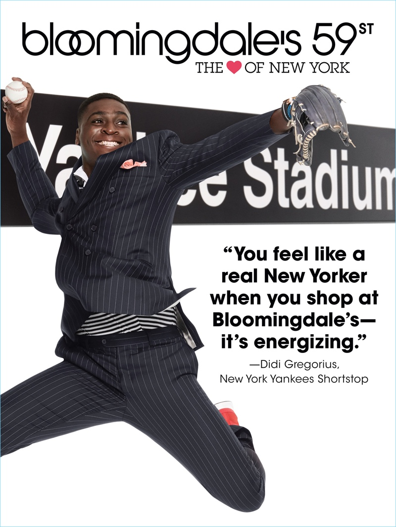 """Baseball player Didi Gregorius fronts Bloomingdale's """"The Heart of New York"""" campaign."""