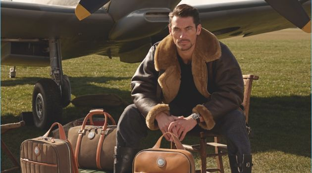 Taking to a field, David Gandy appears in a campaign for his Aerodrome collaboration with Aspinal of London.