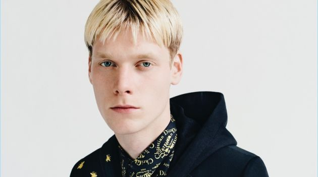 Vic Bellemans wears a look from Dior Homme's Gold capsule collection.