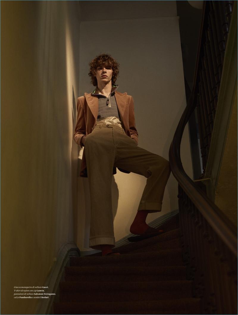 Efraim Schröder Models Vintage-Inspired Style for L'Officiel Hommes Italia