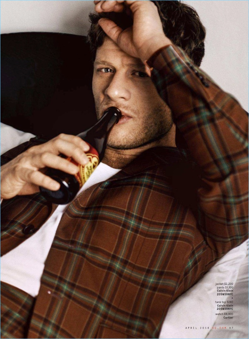 James Norton wears a look by Calvin Klein 205W39NYC with a Cartier watch.