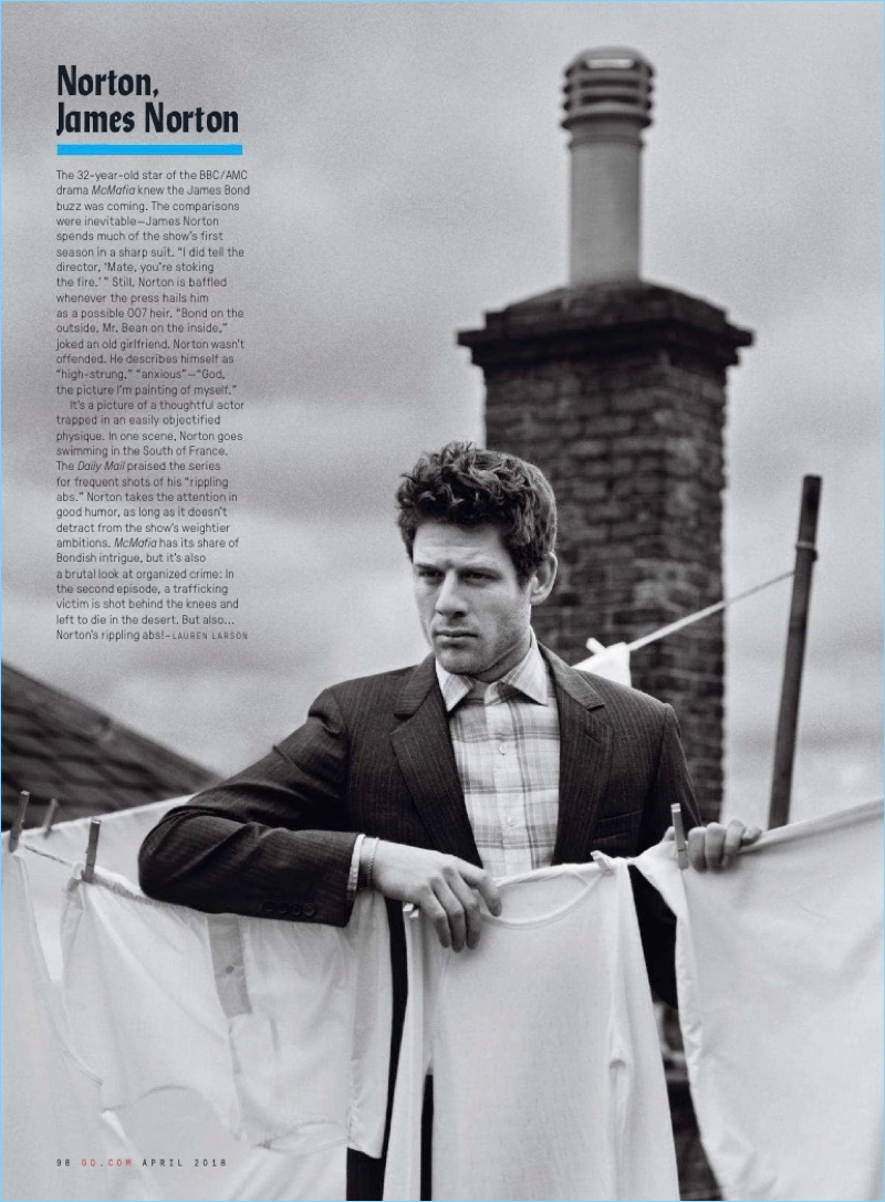Actor James Norton sports a Dior Homme suit with a Tom Ford shirt and The Great Frog bracelet.