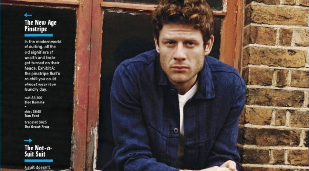 Embracing an indigo hue, James Norton wears a jacket and pants by Evan Kinori with a Sunspel t-shirt. He also sports AMI boots, Gucci socks, and a bracelet by The Great Frog.