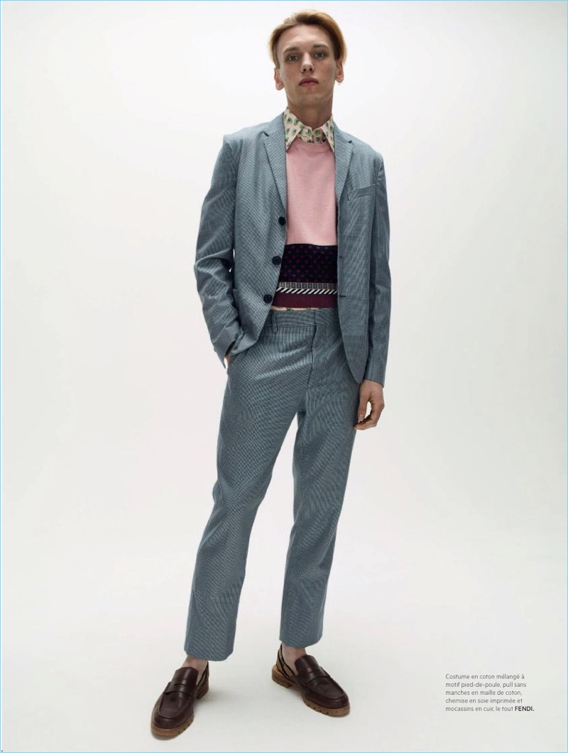Jamie Campbell Bower wears a spring look from Fendi.