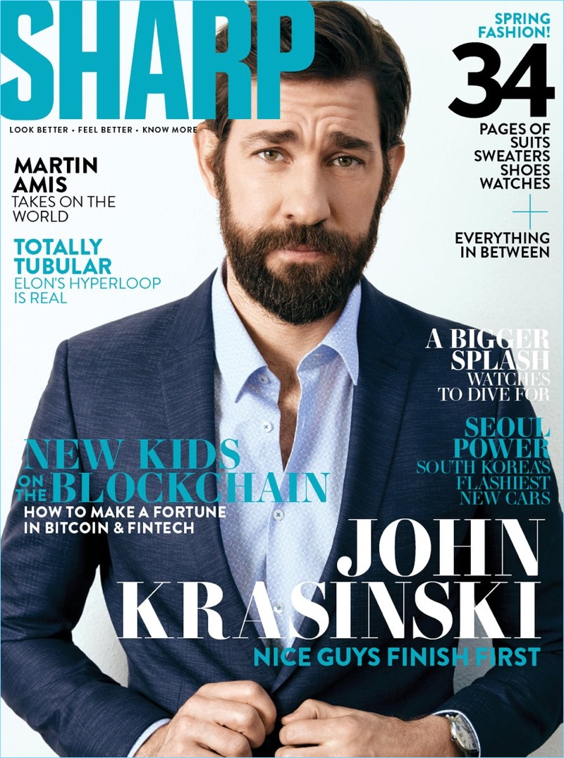 John Krasinski covers the April 2018 issue of Sharp magazine.