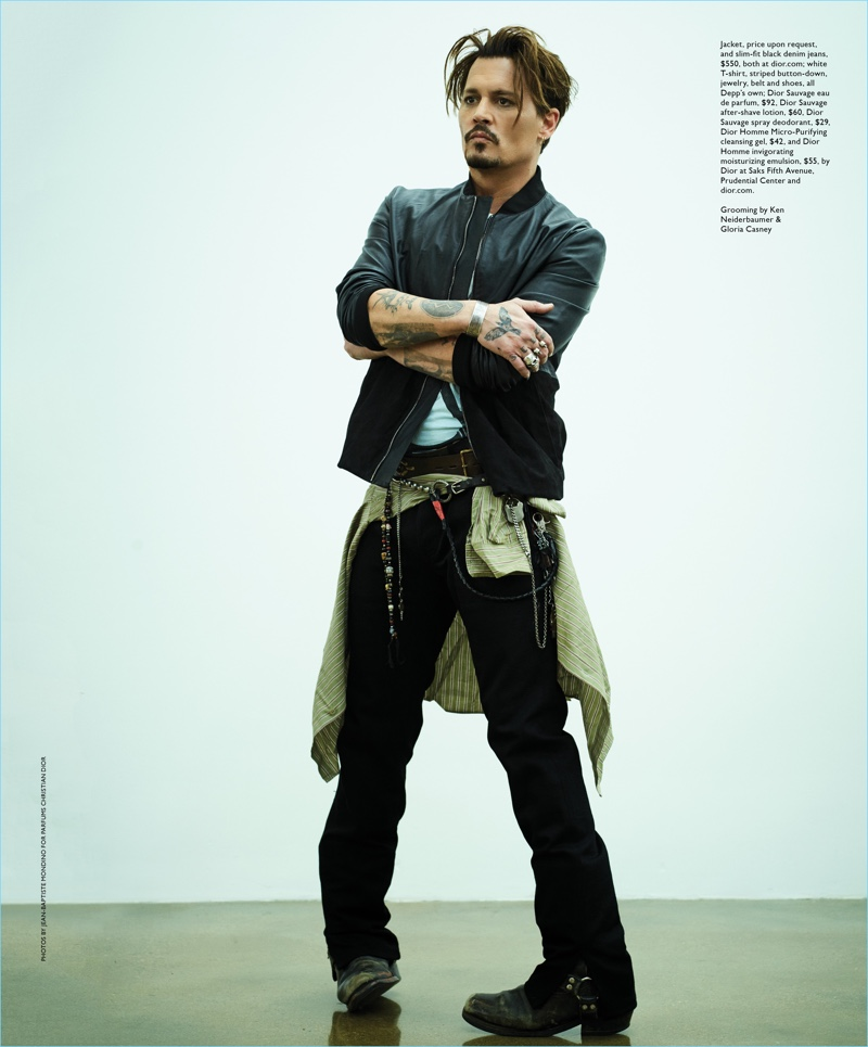Starring in a photo shoot, Johnny Depp wears a mix of his own pieces and the latest from Dior Homme.