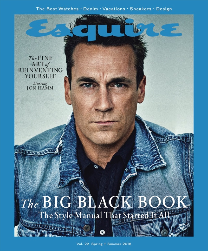 Jon Hamm covers the spring-summer 2018 issue of Esquire Big Black Book.