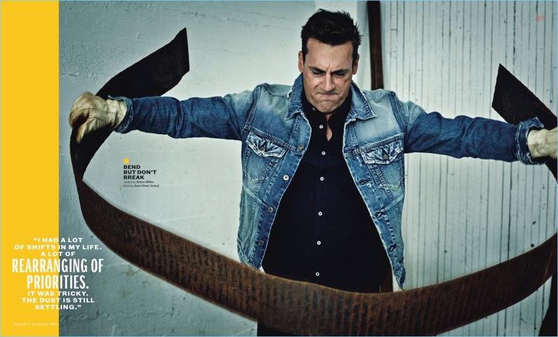 Starring in a photo shoot, Jon Hamm wears a Simon Miller denim jacket with a Save Khaki United shirt.