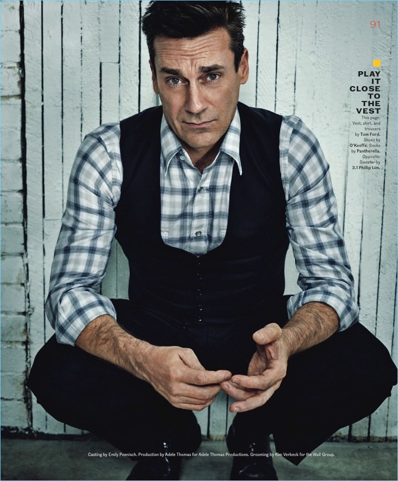 A smart vision, Jon Hamm wears a vest, shirt and trousers by Tom Ford. He also dons O'Keeffe shoes.