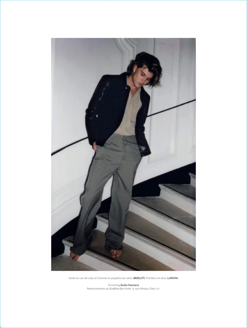 Jordan Barrett Hangs Cool with L'Officiel Hommes Paris