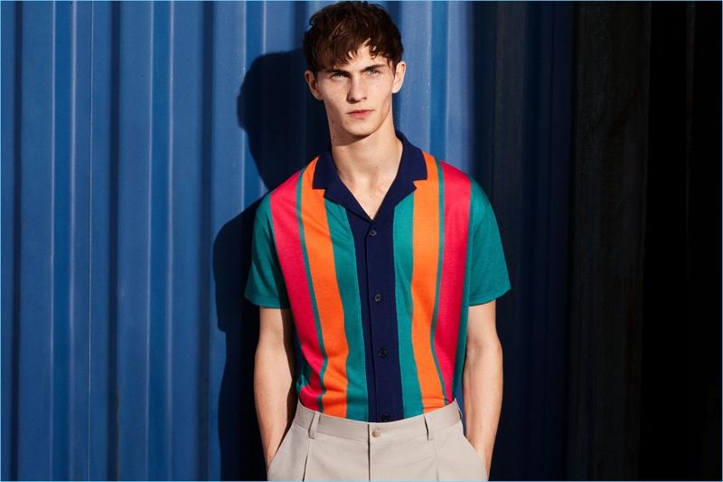 e902df2d Luc Defont-Saviard rocks a bold multi-colored striped camp collar shirt  from Zara