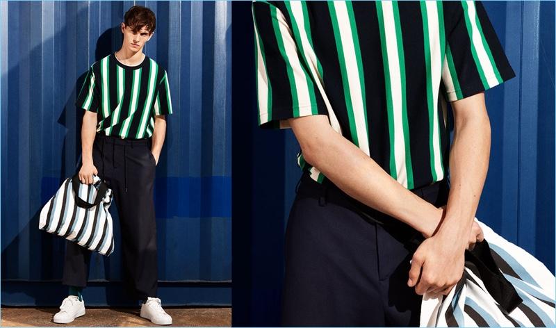 cdb613360b Model Luc Defont-Saviard embraces Zara Man's colorful stripe trend.