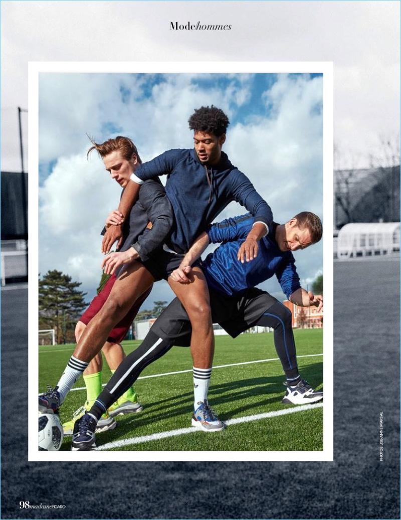 Florian Van Bael, Jules Raynal & Didier Zonga Go Sporty for Madame Figaro