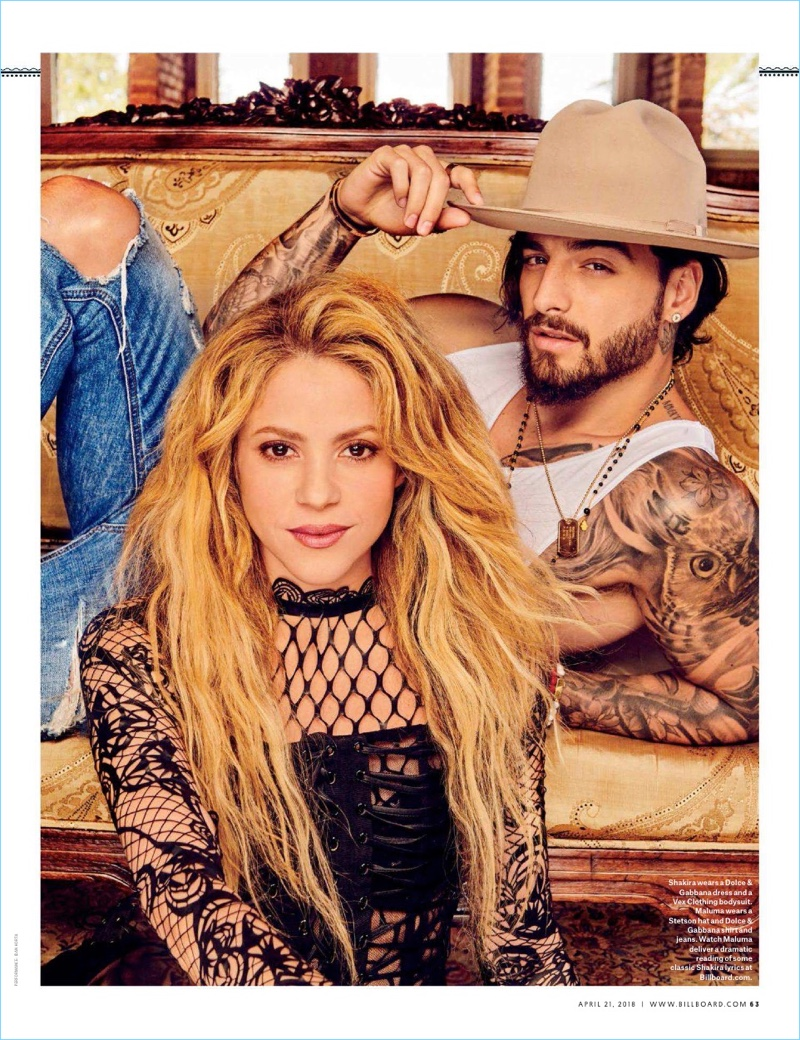 Reuniting with Shakira, Maluma poses for the pages of Billboard.