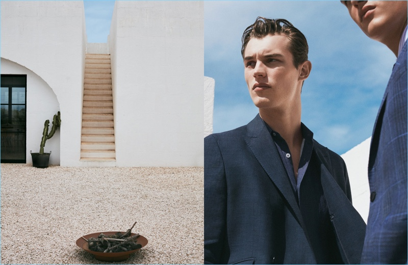 British model Kit Butler goes sartorial with Massimo Dutti for spring.