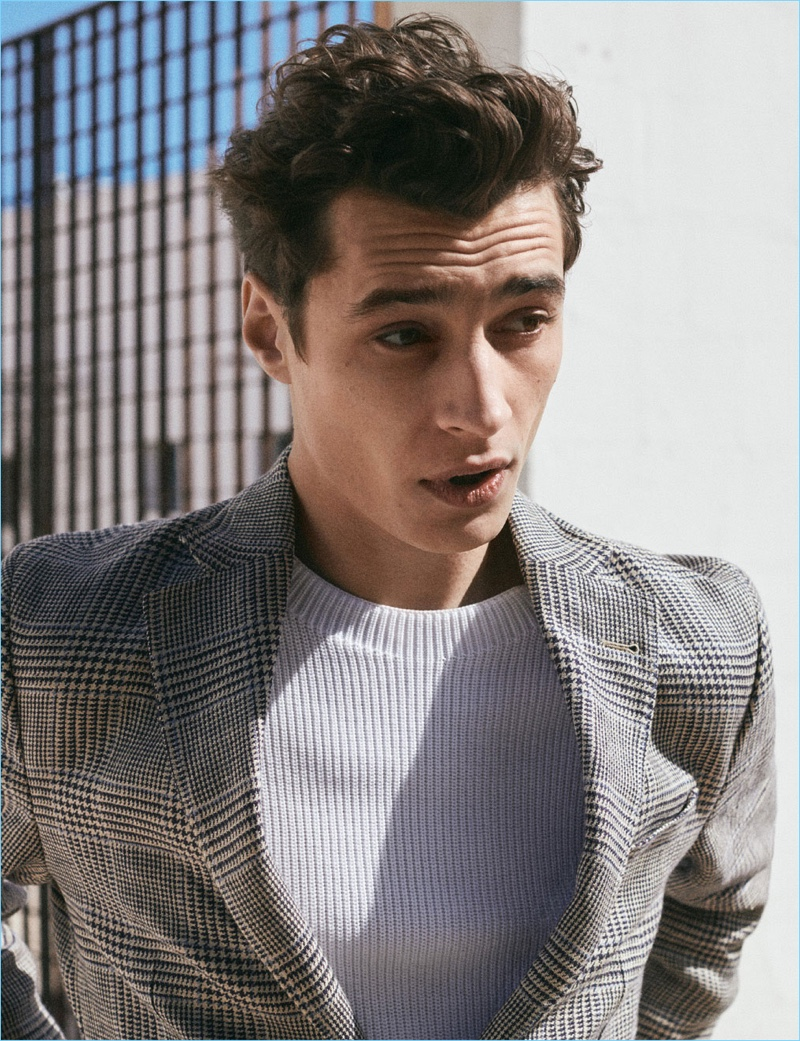 Adrien Sahores dons tailoring from Massimo Dutti.
