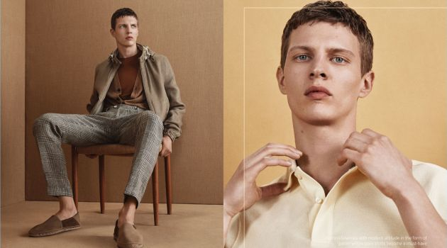 Embracing neutrals, Tim Schuhmacher connects with Massimo Dutti for spring-summer 2018.