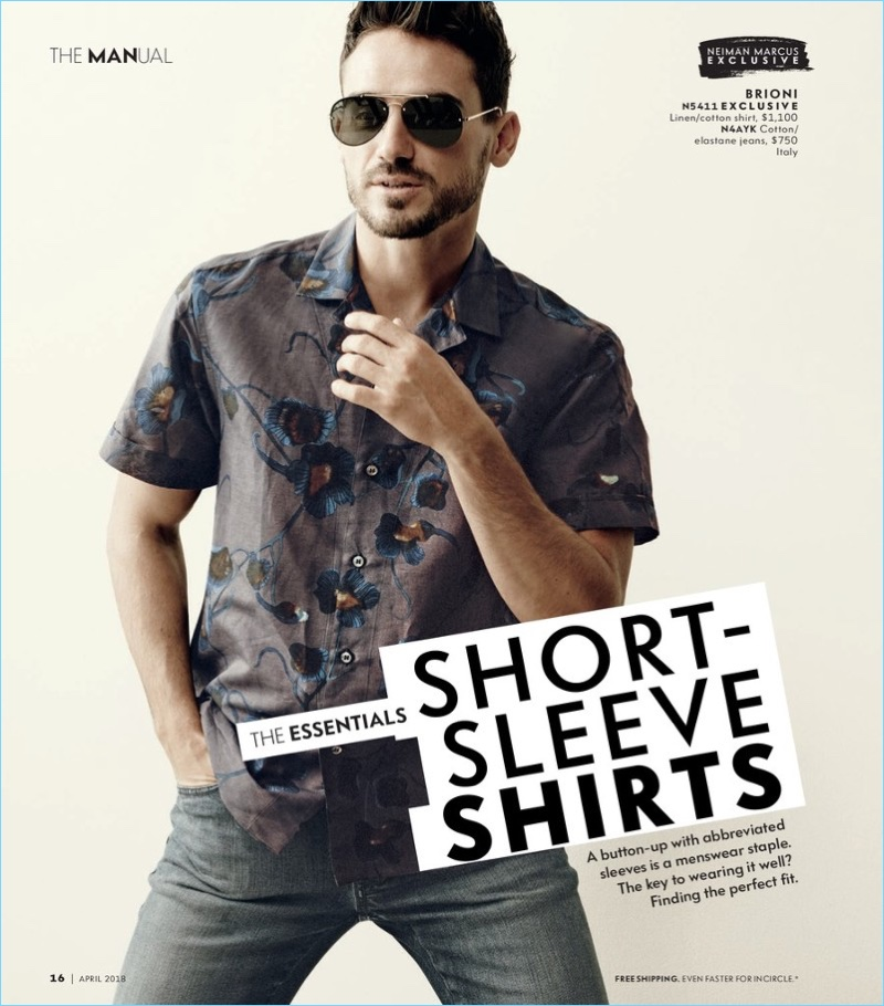 Model Arthur Kulkov wears a short-sleeve linen shirt with jeans by Brioni.