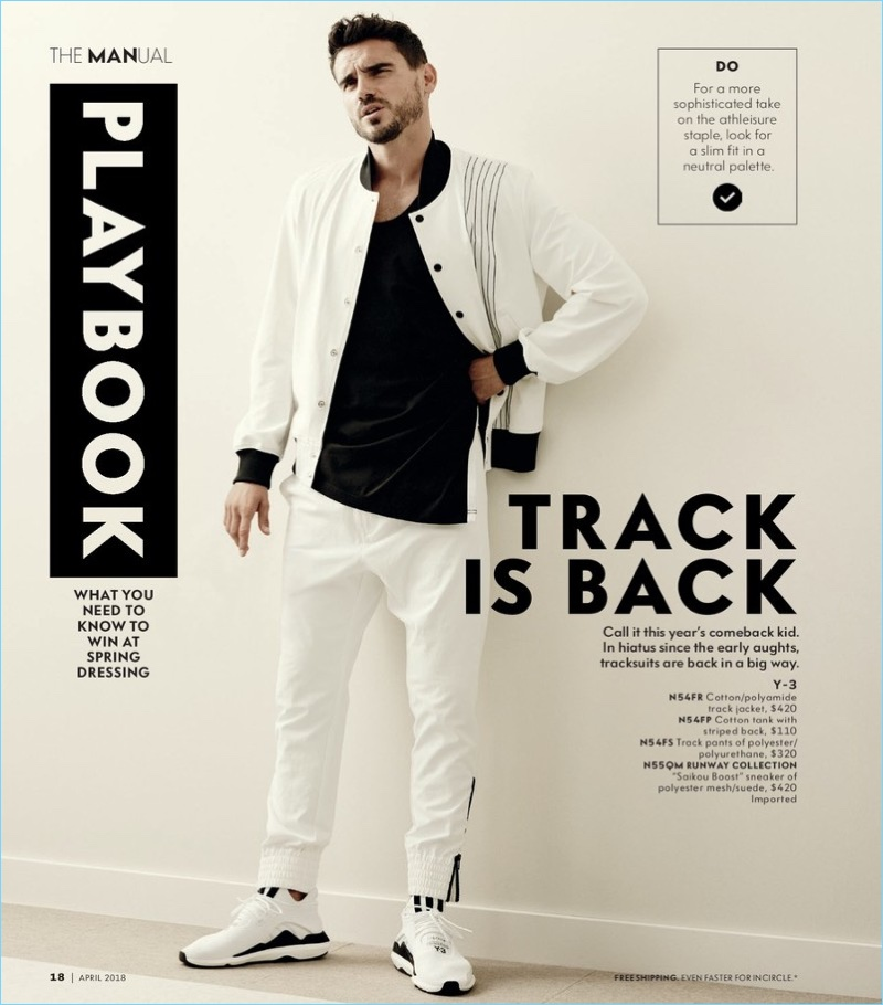 Going sporty, Arthur Kulkov rocks a modern tracksuit by Y-3.