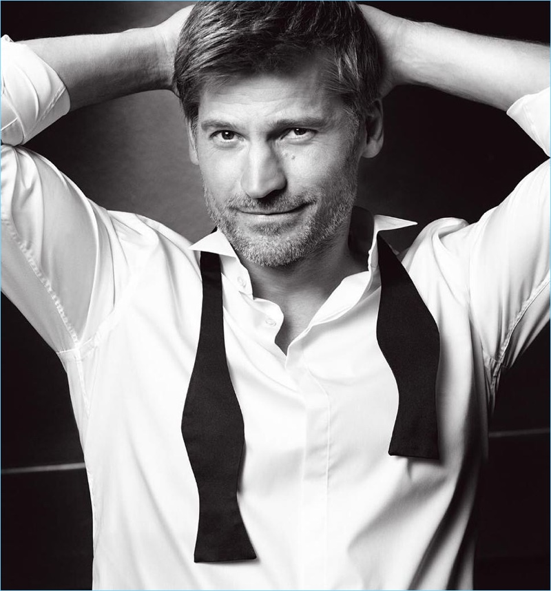 Nikolaj Coster-Waldau appears in a dapper black and white image for L'Oréal Paris.