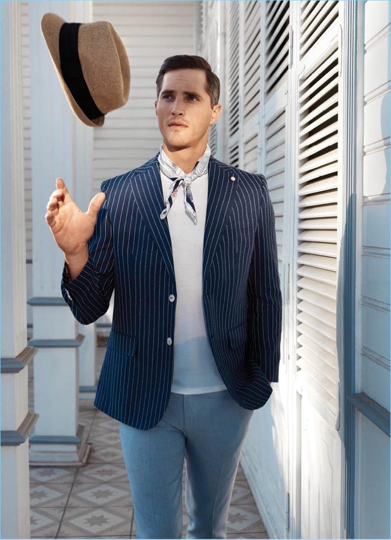 Model Ollie Edwards stars in Damat's sharp spring-summer 2018 outing.