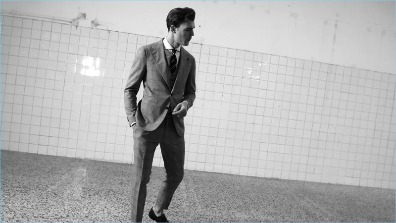 A sleek vision, Patrick Kafka dons a Tagliatore suit.