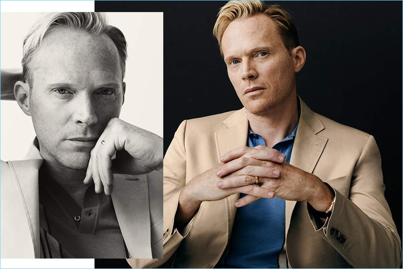 Starring in a stylish photo shoot, Paul Bettany wears a Canali suit jacket with a Prada polo.