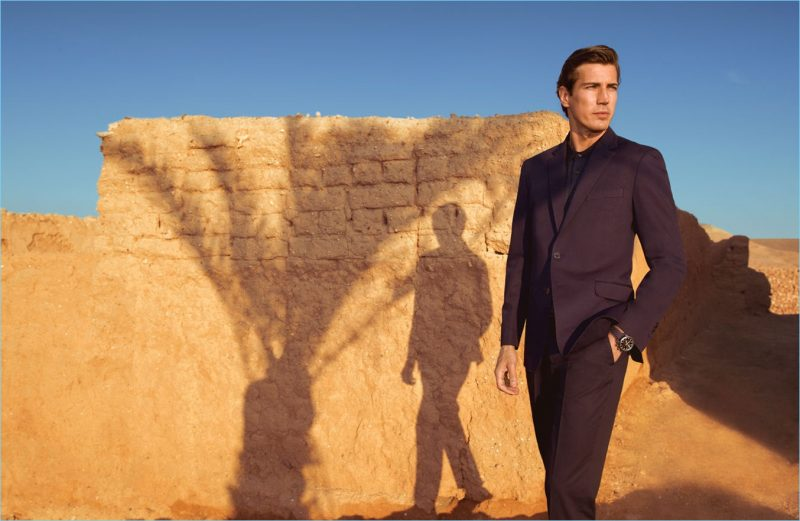 Spanish model Oriol Elcacho stars in a spring-summer 2018 editorial for Pedro del Hierro.
