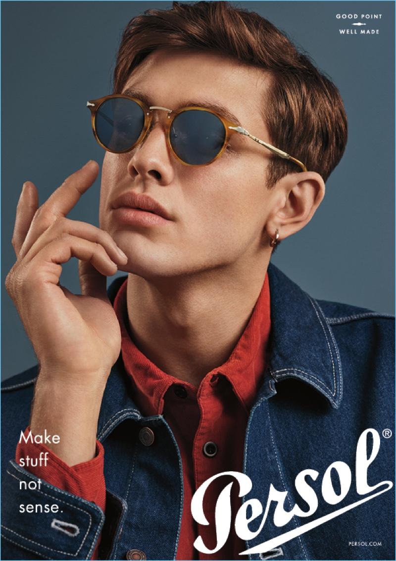 Conrad Solaka rocks stylish sunglasses for Persol's latest campaign.
