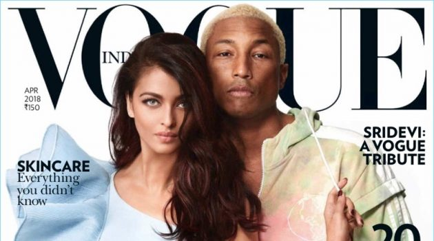 Aishwarya Rai Bachchan and Pharrell Williams covers the April 2018 issue of Vogue India.