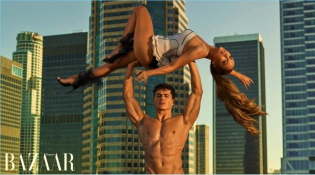 Pietro Boselli stars in a photo shoot with Jennifer Lopez for Harper's Bazaar.