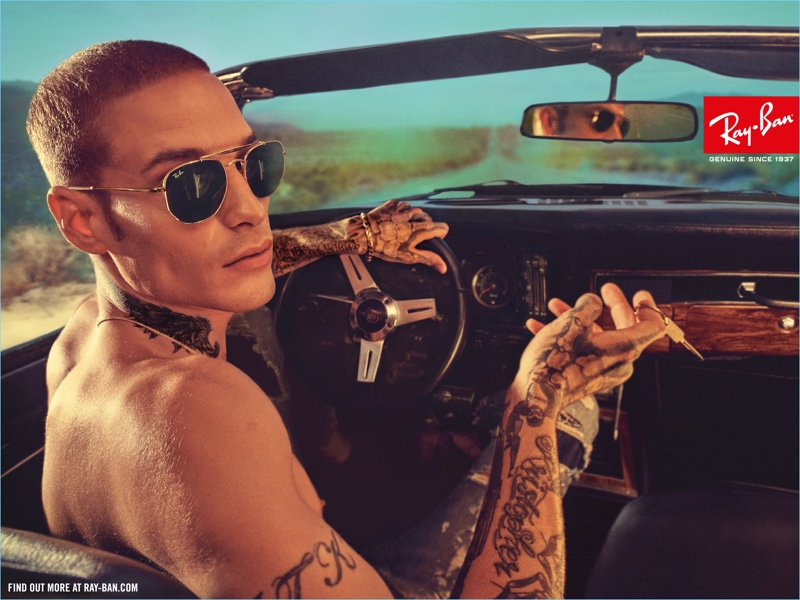 Austin Kellogg wears Ray-Ban's Marshal sunglasses for the brand's latest campaign.