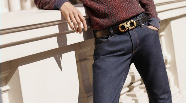 Model Piero Méndez sports Salvatore Ferragamo's Switch belt.