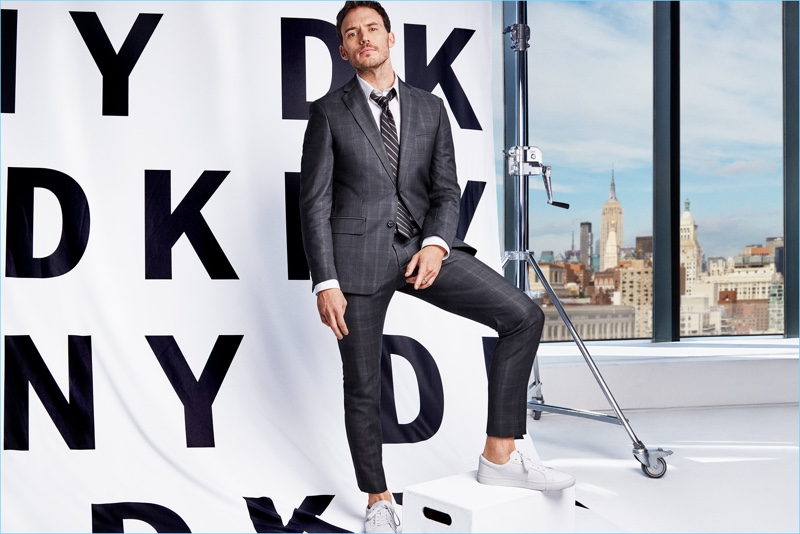 Sam Claflin suits up for DKNY's spring-summer 2018 campaign.