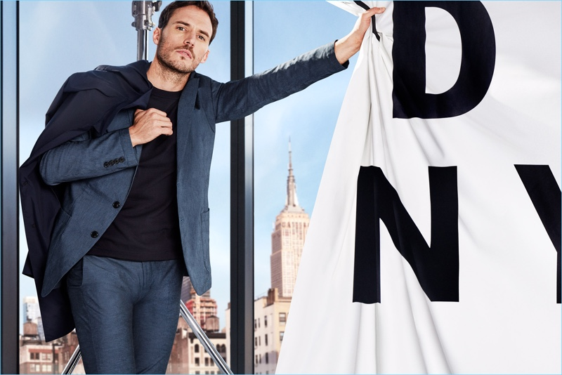 DKNY enlists Sam Claflin as the star of its spring-summer 2018 campaign.