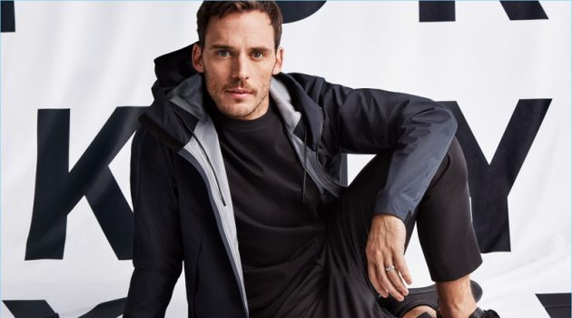 Going casual, Sam Claflin fronts DKNY's spring-summer 2018 campaign.