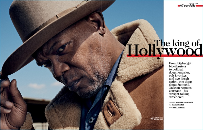 Actor Samuel L. Jackson dons a Stampd coat. He also wears a Prada shirt and hat by Worth & Worth.