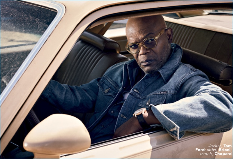 Getting behind the wheel, Samuel L. Jackson wears a Tom Ford denim jacket with a Brioni shirt and Chopard watch.