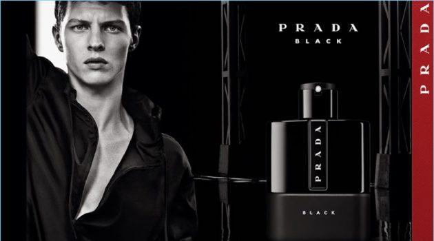 Tim Schuhmacher stars in the fragrance campaign for Prada Luna Rossa Black.