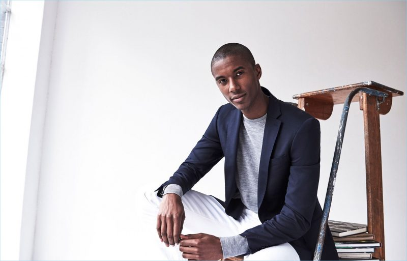 The Denim Approach: Here, Claudio Monteiro trades out his trousers for a pair of white jeans. He also sports a silver merino sweater by Todd Snyder.