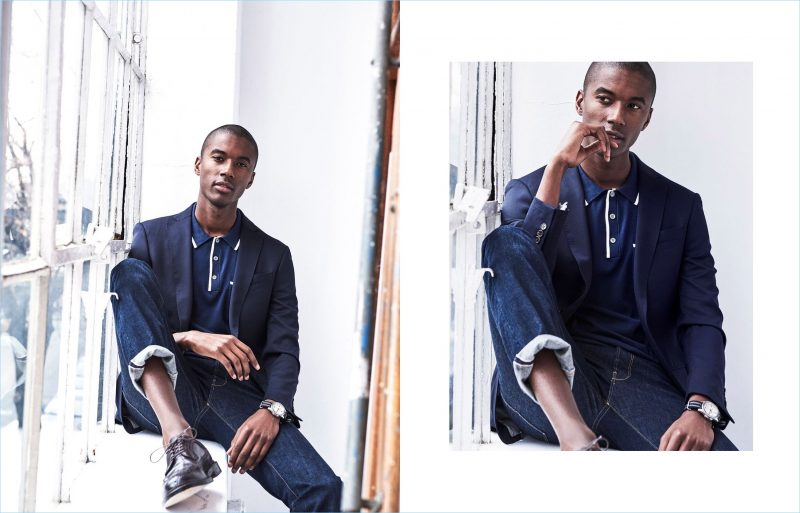 Indigo Dreams: Stick with the suit jacket and embrace an indigo theme. Complement your navy blazer with a polo and dark wash denim jeans.