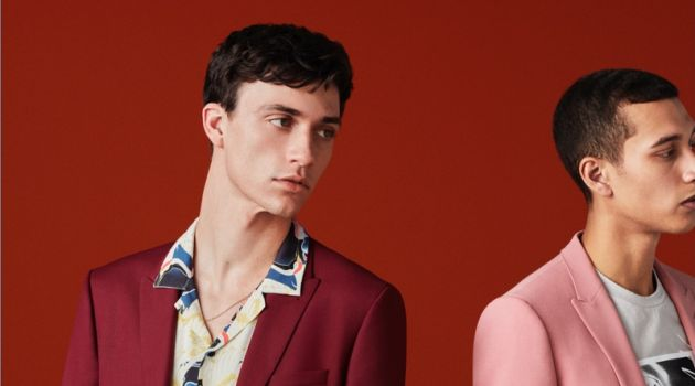 Embracing color, Jacob Bixenman and Jackson Hale front Topman's spring-summer 2018 suiting campaign.