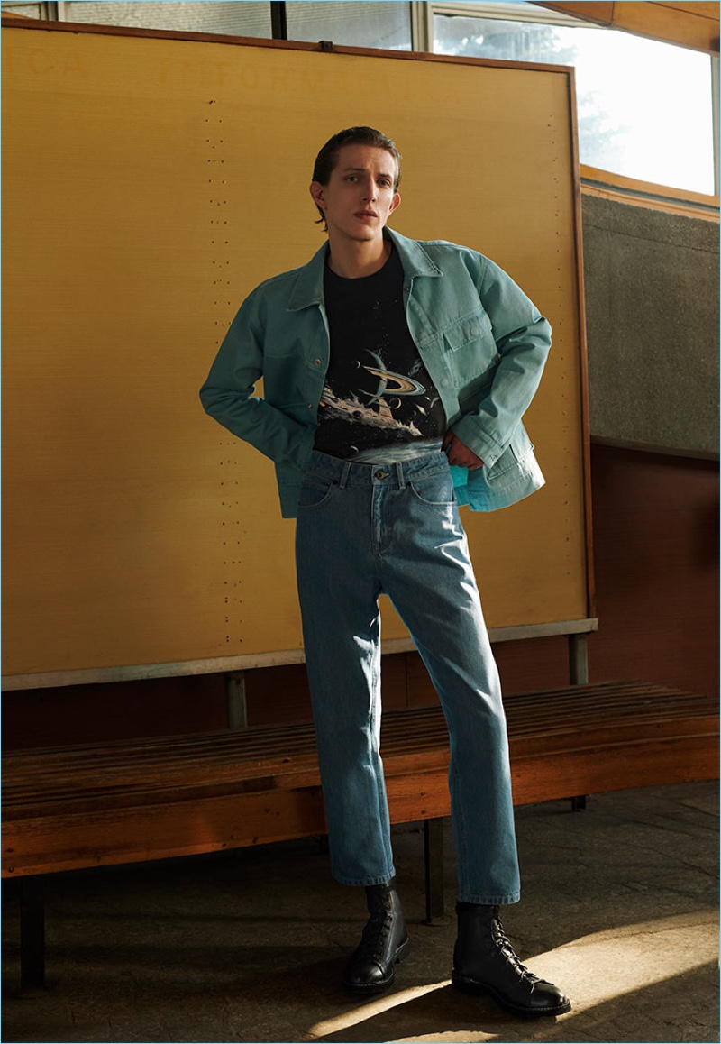 Doubling down on denim, Xavier Buestel is fashionable in a look from Reserved's Re.Design.02 collection.