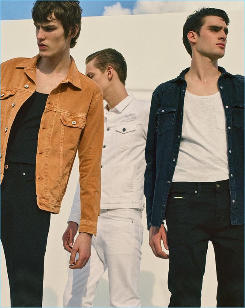 Elias de Poot, Oskar Dalsjø, and Marijn Aper don denim looks from Zara Man.