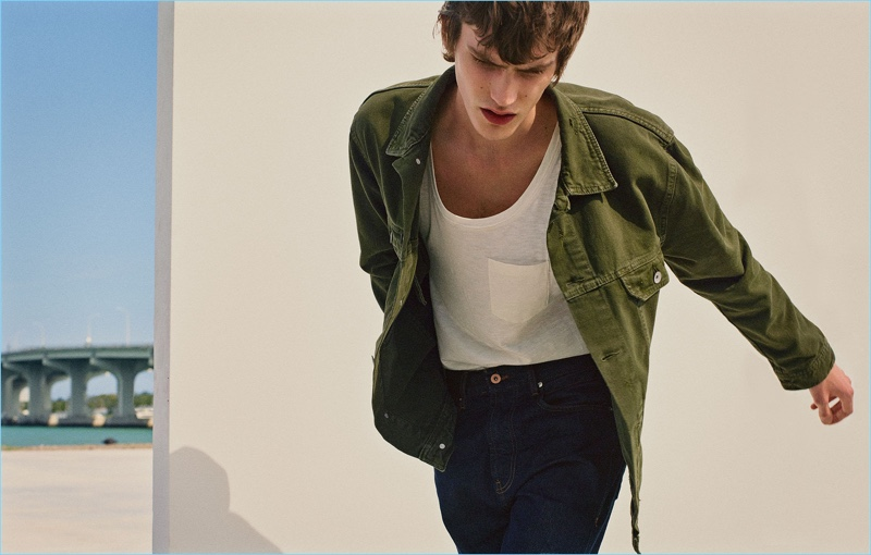 Model Elias de Poot wears spring denim from Zara Man.