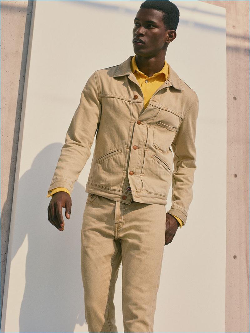 Salomon Diaz stands out in a tan denim look from Zara Man.