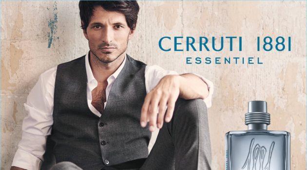 Andres Velencoso stars in the new fragrance campaign for Cerruti 1881 Essentiel.